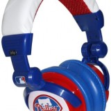 iHip Philadelphia Phillies MLB10279PHL DJ Style Headphone with Splitter and Volume Control (Blue/Red/White) thumbnail