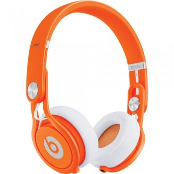 Beats by Dr. Dre Mixr Lightweight DJ Headphones (Orange) Bundle with Beats Cable with Microphone and Custom Designed Zorro Sounds Cleaning Cloth image