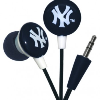 iHip MLF10169NYY MLB New York Yankees Printed Ear Buds, Blue/White image