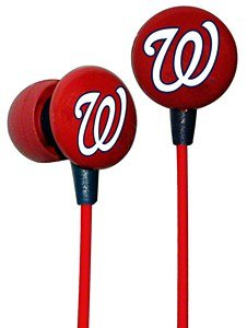iHip MLF10169WAS MLB Washington Nationals Printed Ear Buds, Red/White/Blue image