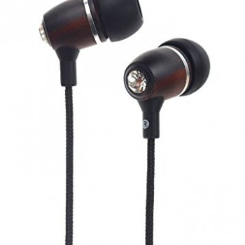 Symphonized NRG BLING Premium Genuine Wood In-ear Noise-isolating Headphones with Mic and Nylon Cable (Black) image