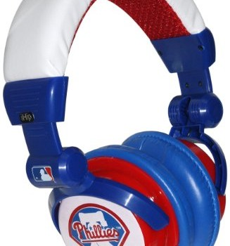 iHip Philadelphia Phillies MLB10279PHL DJ Style Headphone with Splitter and Volume Control (Blue/Red/White) image