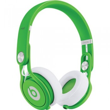 Beats by Dr. Dre Mixr Lightweight DJ Headphones (Green), Beats Cable with Microphones and Custom Designed Zorro Sounds Cleaning Cloth image