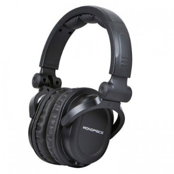 Monoprice 108323 Premium Hi-Fi DJ Style Over-the-Ear Pro Headphone, Black image