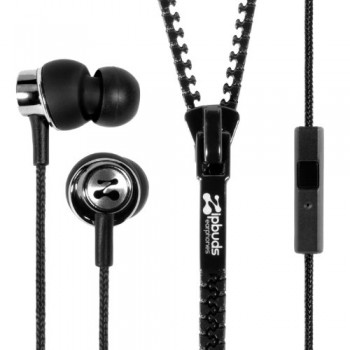 Zipbuds PRO mic Never Tangle Zipper Earbuds with Noise Canceling Mic/Remote, Black image
