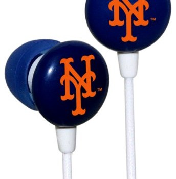 iHip MLF10169NYM MLB New York Mets Printed Ear Buds, Blue/Orange image