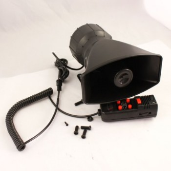 Automotive Motorcycle Car Van Truck Boat 5 Sound Tone Microphone Mic Annunciator Loud Horn Siren Max 300db 12V image