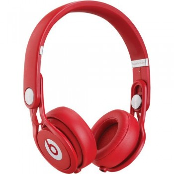 Beats by Dr. Dre Mixr Lightweight DJ Headphones (Red) Bundle with Beats Cable with Microphone and Custom Designed Zorro Sounds Cloth image
