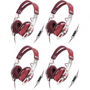 (4) Sennheiser Momentum Closed On-Ear iPod iPhone DJ Headphones w/ Case | Red image